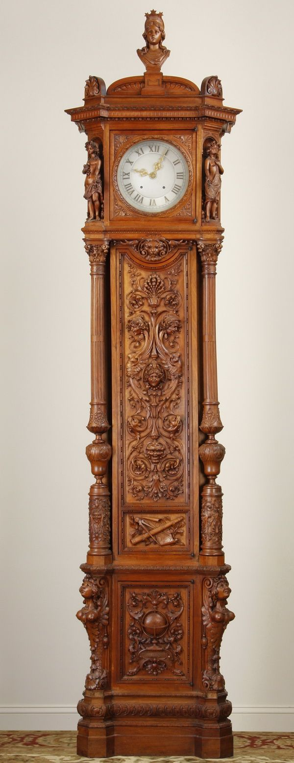 Victorian carved rosewood center table w marble turtle top cottone - Intricately Carved 19th Century Italian Renaissance Revival Walnut Tall Case Clock The Clock Face Flanked