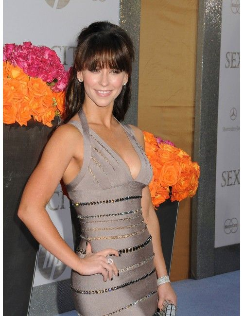 The Outlet Boutique Jennifer Love Hewitt style Gray/Beige Beaded V Neck Dress bodycon -The celebrity and runway replica dresses with high street cheap price, replica bandage dresses, replica celebrity dresses, replica oscar and red carpet dresses, replica kim kardaesian