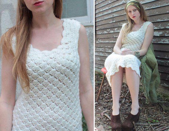 70s White Sweater JUMPER DRESS Vintage Spring Summer SCALLOP Knit Crochet Pattern Woman's Boho Rock Festivals Midi Tank Tunic Dress Size S/M by HarlowGirls on Etsy