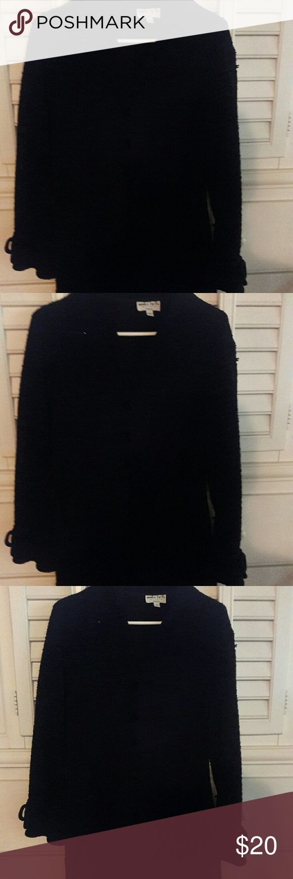 Long black sweater 100% acrylic long black sweater with three front close buttons. Gently worn, smoke free, pet free home Monika Turtle Sweaters Cardigans