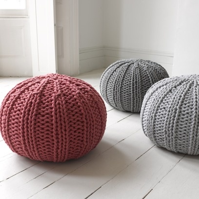 BUG POUFFE These hand-knitted rope pouffes are exceptional. Not only do they look cute, but they are hardy friends ideal for feet, bums and…children to leap from!