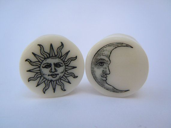 Sun & Moon Plugs on White Bone. 0g (8mm) or 00g (10mm) Double Saddle Plugs / Gauges by Gauge Queen on Etsy, $26.50
