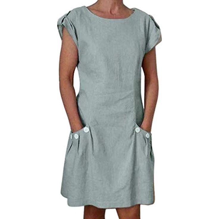 Filmyme Frauen Casual Leinenkleid Damen Tasche geknöpft Kleid Dekor Reißversch…