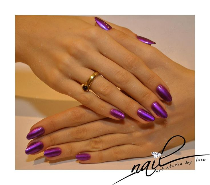 nails chrome metallic purple nail art