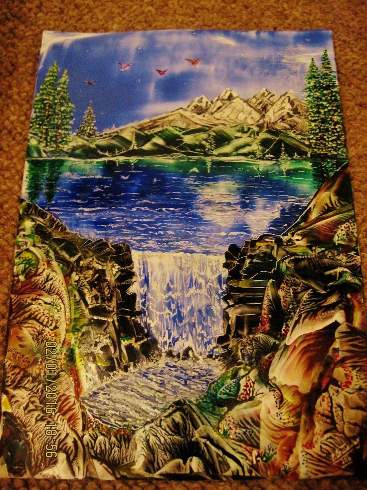 Encaustic Art using beeswax and travel iron and stylus.IMG 1390.Titled THE FALLS.size A4,done JAN 2ND 2016.By Peter Chattaway.uk.