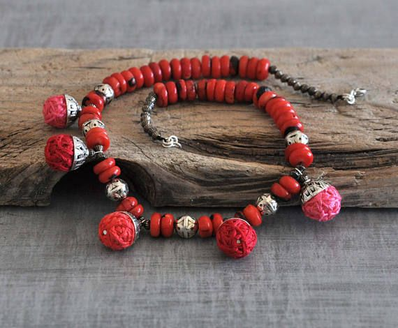 Coral Tribal Necklace  Red Bohemian Necklace  Beaded Boho