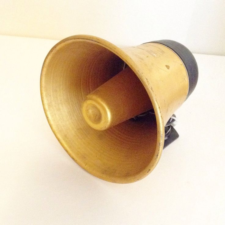 Vintage Golden Brass PUBLIC ADDRESS HORN, Loudspeaker , Town Meeting, Police Vehicle Horn, Car Parts by ThreeLegaciesVintage on Etsy