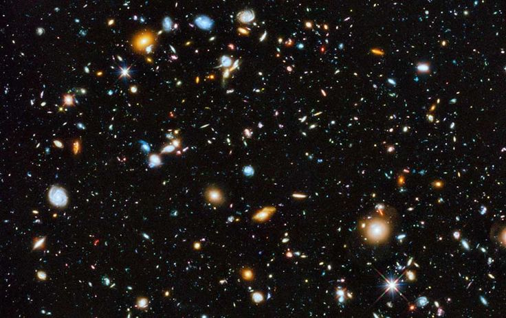 Every point of light in this picture, except two who are stars, is a galaxy. Each containing more than a hundred billions stars. Between each galaxy there is at least a distance of few hundred thousand, often over a million, light years.