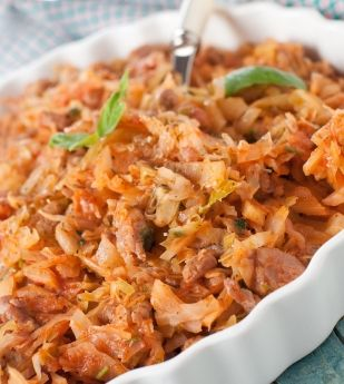 We love this recipe for its humbleness and simplicity. You can add more or less tomato paste depending on your own preference. And if you want to, you could add some sliced button mushrooms to the cabbage. It takes this recipe from humble to more substantial in one fell swoop which can be served as a meatless meal with cooked rice or orzo (rice noodles).
