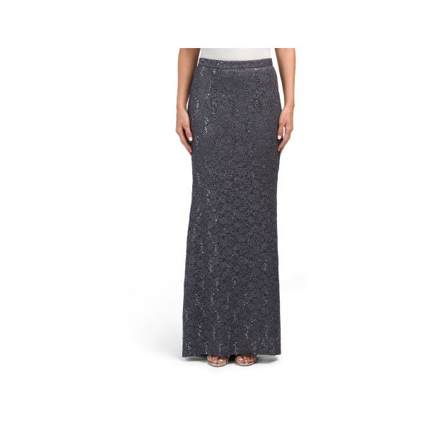 Made In USA Long Lace Skirt ($30) ❤ liked on Polyvore featuring skirts, long stretchy skirts, high low skirt, long maxi skirts, hi low skirt and maxi skirts