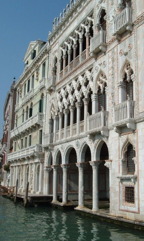 The Ca' d' Oro is the most celebrated palazzo on the Grand Canal; a fabulous Gothic palace which used to gleam with gold. It was built between 1420 and 1434 for a rich Venetian, Marino Contarini.  It is still a breathtaking sight.