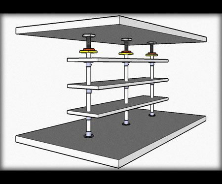 Mounting shelf from floor to ceiling on clips