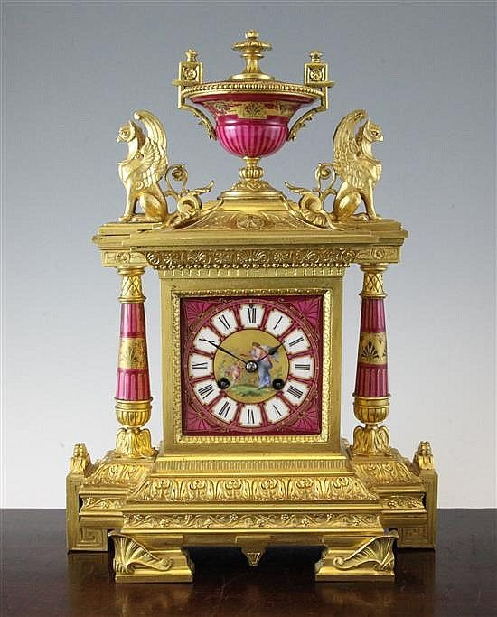 A 19th century French ormolu and porcelain mantel clock, 16.