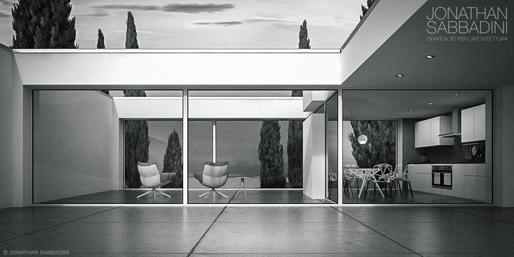 Render di una villa moderna con vista sul lago di Lugano  © Jonathan Sabbadini  #rendering #3D #architettura #modern #design