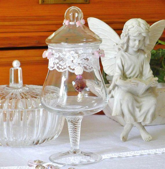Vintage Glas Bonboniere Glasbehälter mit Deckel Glasschale