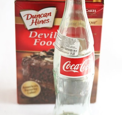 Only - 2 Ingredients! Coke and cake mix.    Mix together, put in 13 X 9 pan for 35 min.  OR microwave in Tupperware cake pan for 8 minutes!  Yummy.  Change the flavor - yellow mix with orange soda... chocolate mix with Dr. Pepper...