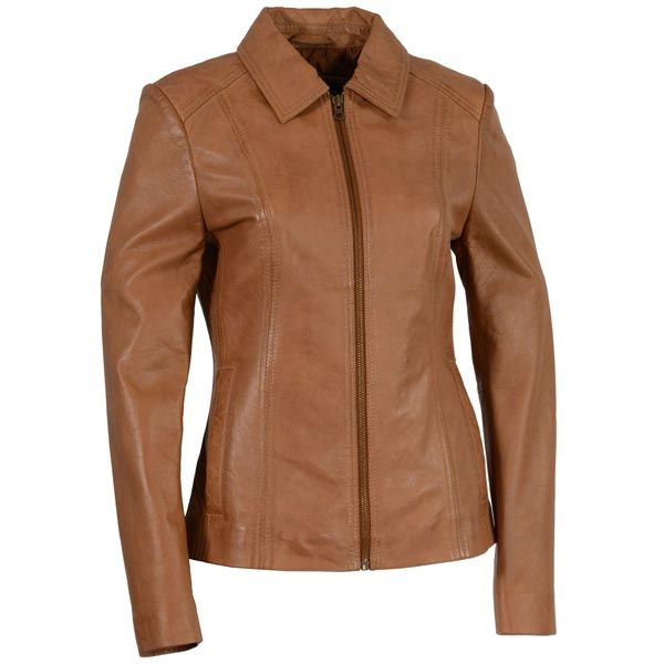 <b>Milwaukee Leather Women's Zipper Front Shirt Collar Saddle Leather Jacket</b><br><br>Slip on this leather scuba jacket, and experience the soft feel of the twill liner. This scuba jacket with a front zipper closure features two inside drop pockets to store small belongings easily. Order yours today from LeatherUp, the most popular online motorcycle store.