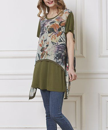 Look what I found on #zulily! Green Floral Layer Tunic - Plus #zulilyfinds