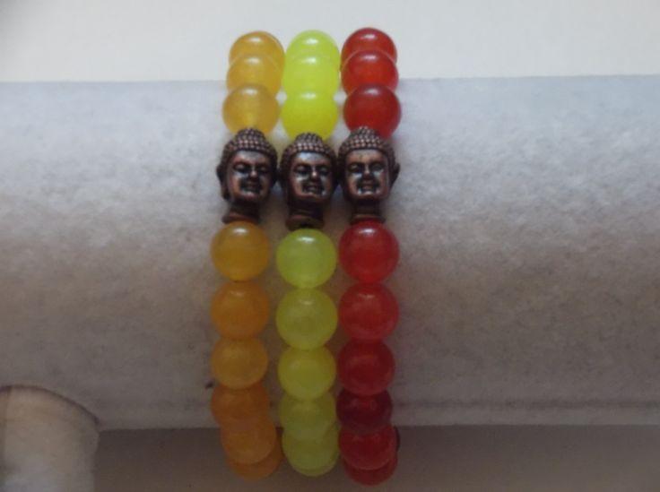 3 Agate Gemstone Beaded Buddha Bracelets,Yoga Bracelets by HealingAuras on Etsy