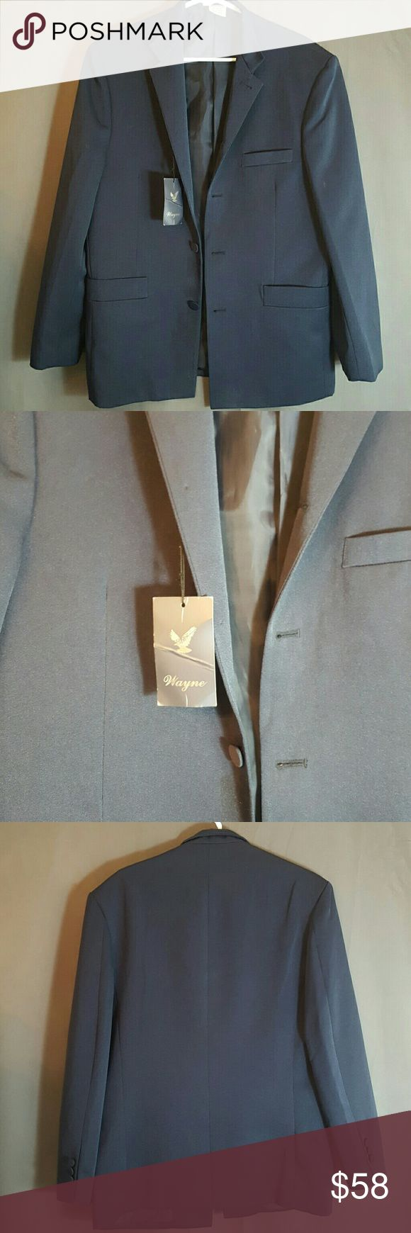 MENS NAVY BLUE BLAZER BRAND NEW WITH TAGS.  Simple and sharp navy blue suit jacket.  Wear out anywhere anytime, with a suit or over jeans casually. Wayne Jackets & Coats