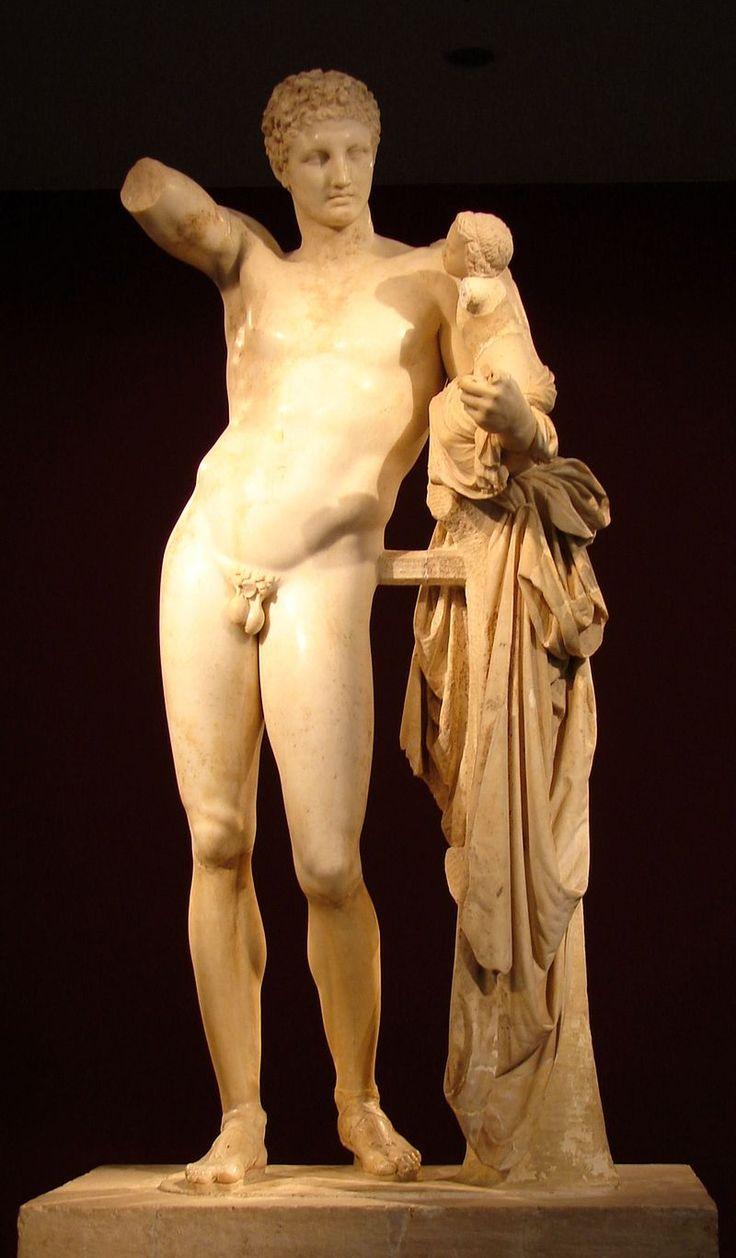 Hermes di Prassitele, at Olimpia, front - Hermes amb Dionís infant - Viquipèdia, l'enciclopèdia lliure