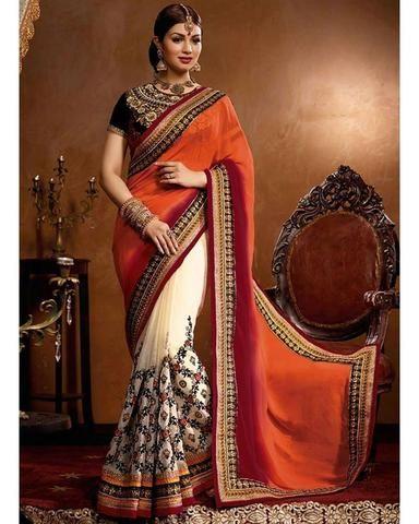 Sari Designer Aishwarya - Orange, beige et noir