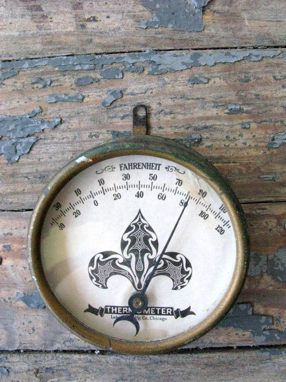 Vintage Thermometer Industrial Decor Fahrenheit Round by Sfuso