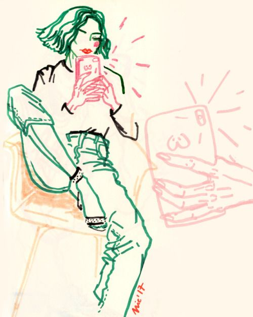"""""""Selfie Portrait""""  - fashion illustration from new series about bloggers selfies.   @lifeofboheme"""