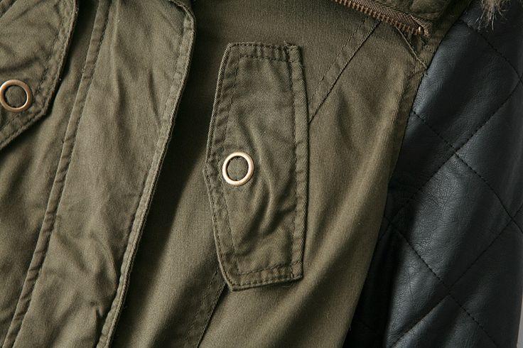 Abrigo con capucha piel sintético manga larga-verde-Spanish SheIn(Sheinside)