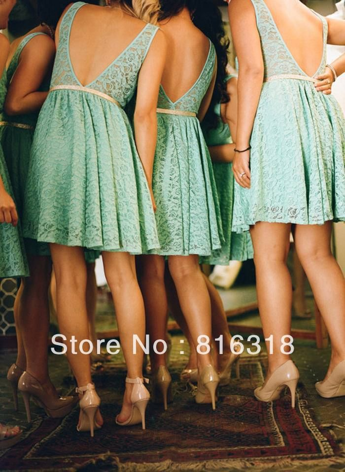 2014 New Arrival Country Style Bridesmaid Dresses Open Back Short Lace Bridesmaid Dress A Line Teal Bridesmaid Dresses 2014 US $99.00