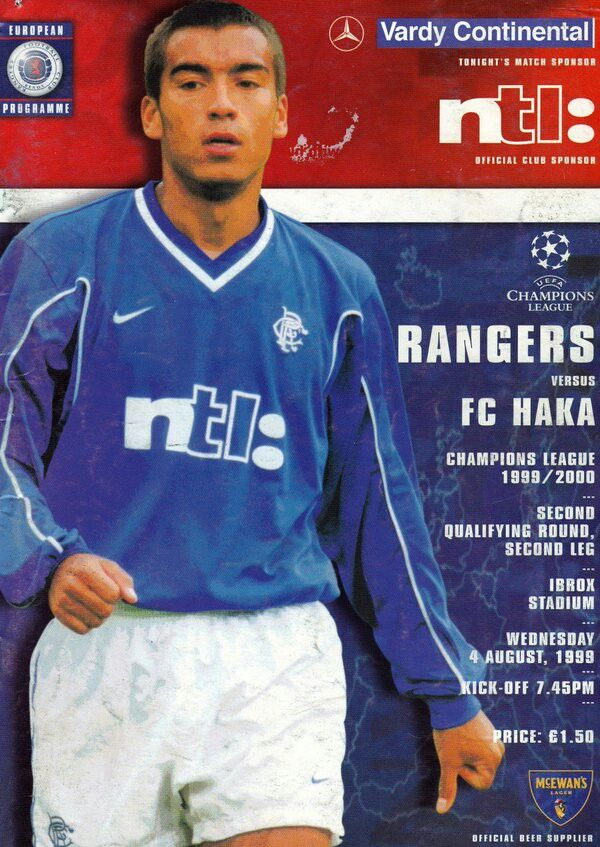 Rangers 3 FC Haka 0 (7-1 agg) in Aug 1999 at Ibrox. Programme cover for the Champions League Qualifier, 2nd Leg.