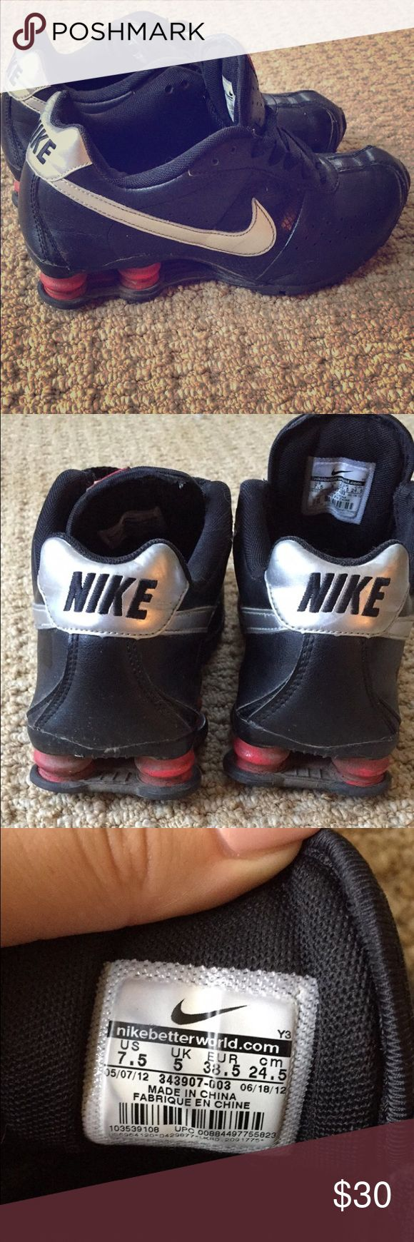 Black Nike Shox Black and silver Nike Shox. Size 7.5. Worn but still in good condition. Make me an offer! Nike Shoes Sneakers