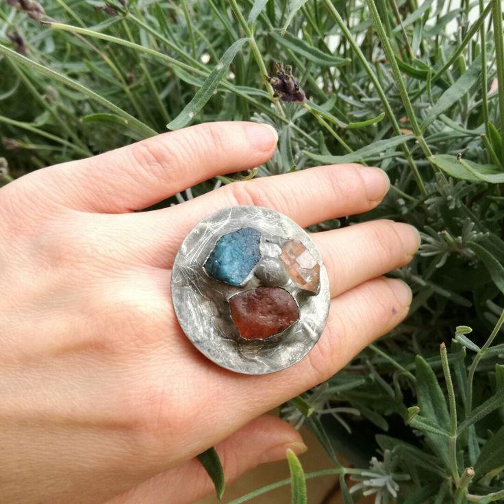 Boho ring raw stones quartz 🍀🌼