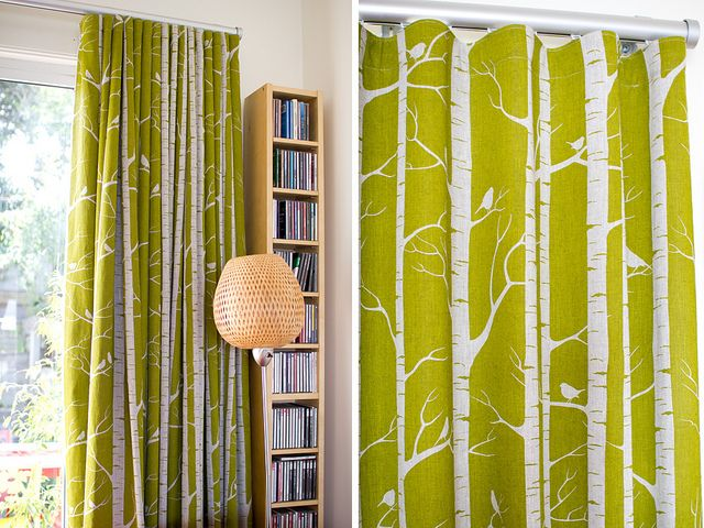 Cathy's Birch curtains by Ink & Spindle, via Flickr