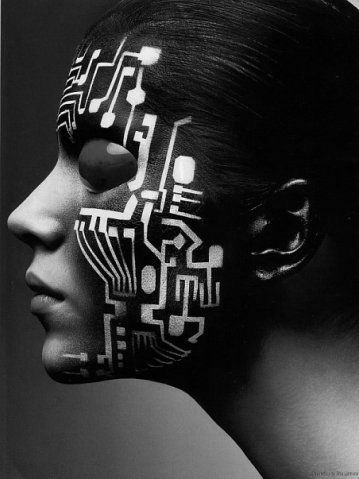 I've done many circuitry patterns on myself before but this is would be a photo negative of what I do except this is larger in pattern. Might work with the hood I wear sometimes...