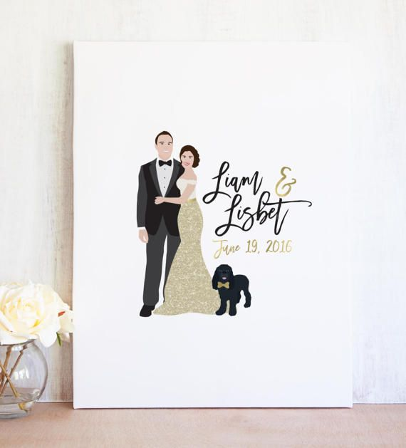 Gold Wedding Guest Book Alternative Canvas  Couple Portrait