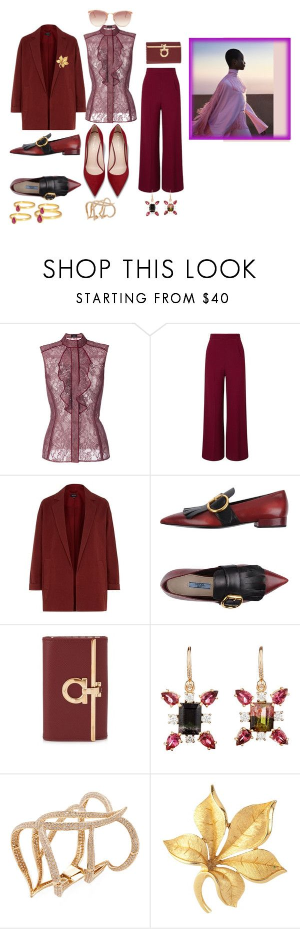 """O'Della's  Choice"" by blujay1126 ❤ liked on Polyvore featuring J. Mendel, Roland Mouret, Prada, Salvatore Ferragamo, Irene Neuwirth, Maiyet, Susan Caplan Vintage and Linda Farrow"