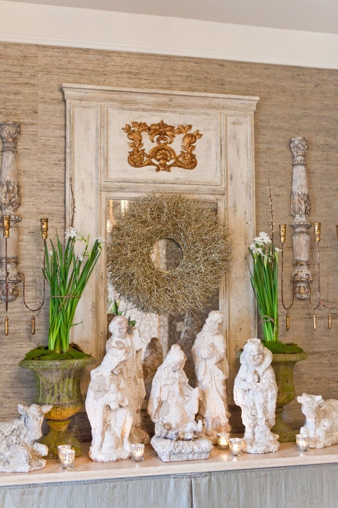 Nativity scene like this white porcelain with gold liners