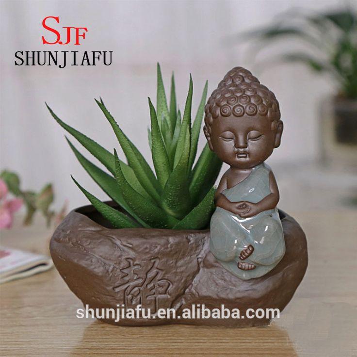 Desktop Decoration Pottery Small Buddha Flower Pots