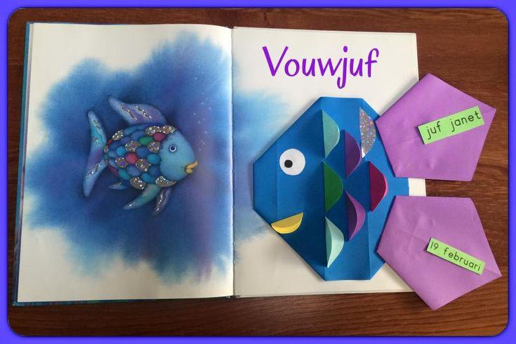 """Verjaardagskalender """"Mooiste vis van de zee""""- 16 vierkantjes en vliegers."""