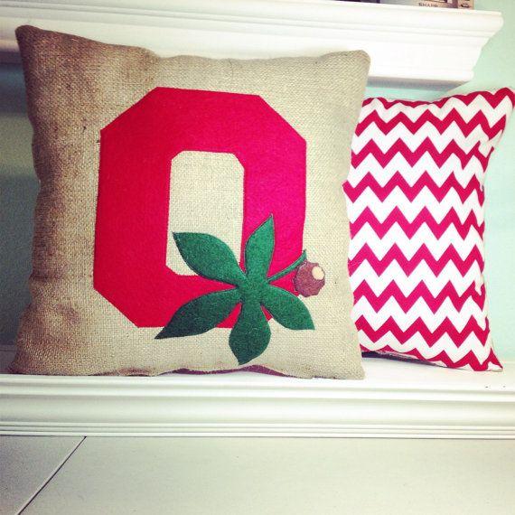 Burlap Ohio State Buckeye Pillow