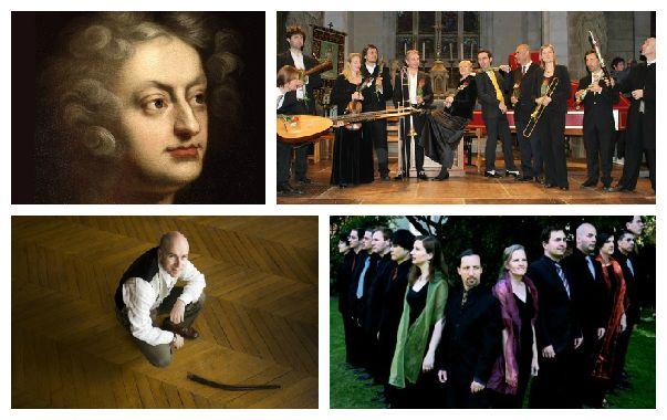 Haut : Henry Purcell et l'Ensemble La Fenice. Bas : Jean Tubéry et l'Ensemble Vox Luminis.