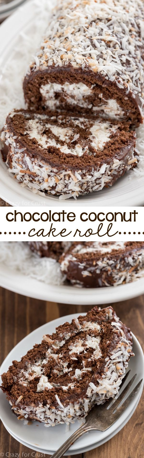 A Chocolate Coconut Cake Roll is easier to make than you think! Chocolate cake is filled with Nutella and coconut whipped cream and then topped with chocolate ganache and more coconut