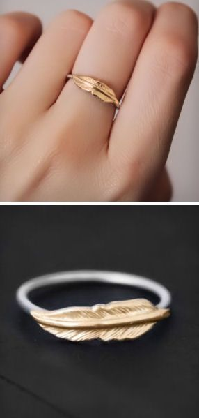 Dainty Feather Ring <3