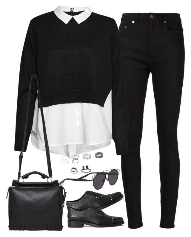 """Untitled#3634"" by fashionnfacts ❤ liked on Polyvore featuring Yves Saint Laurent, French Connection, AllSaints, 3.1 Phillip Lim, Christian Dior and Topshop"
