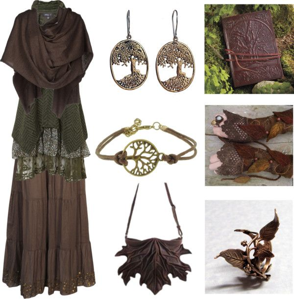 hexeknochen:  The Tree of Life by maggiehemlock featuring filigree earringsGreen dress, $46 / Viktor Rolf short sleeve shrug cardigan / Boohoo brown skirt / Vine ring / Filigree earrings / Cord jewelry / Celtic Tree of Life Blank Book