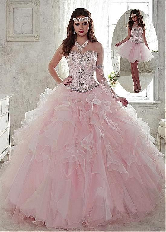 Buy discount Fantastic 2 In 1 Organza Sweetheart Neckline Ball Gown Quinceanera Dresses With Beadings & Rhinestones at Dressilyme.com