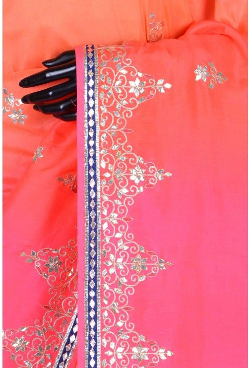 Pure Tussar Embroidery-Shaded Red & Pink-Gota Work-WG203078