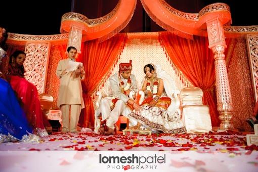 Red and white Hindu wedding mandap