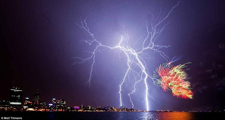 Fireworks and lightning combine to light up Perth's skies in spectacular style on Australia Day